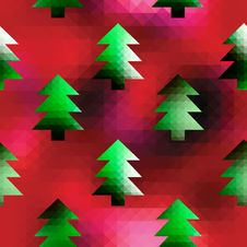 Christmas Trees On Red Pixels Background