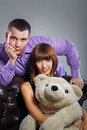 Free Boy, Girl And Teddy Bear Royalty Free Stock Image - 35125346