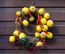 Garland Made Of Fruits And Chili Pepper Royalty Free Stock Photography