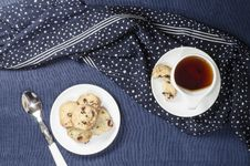 Porcelain Dishes And Cookies With Cranberries Stock Photography