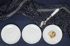 Porcelain Dishes And Cookies With Cranberries Royalty Free Stock Image