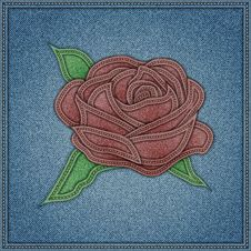 Free Rose On The Blue Jeans Background. Vector Eps10 Royalty Free Stock Photography - 35126487