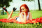 Free Beautiful Woman With Red Hair Has Rest In Park Royalty Free Stock Photos - 35124848