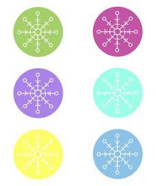 Free Snowflake Circle Sticker Cutouts Royalty Free Stock Photo - 35136165