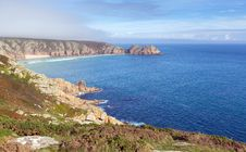 Free Coast Of Cornwall England In Autumn With Mist And Blue Sky Stock Images - 35139104