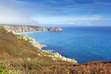 Free Coast Of Cornwall England In Autumn With Mist And Blue Sky Royalty Free Stock Photography - 35139107