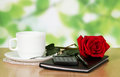 Free Table In Cafe With A Cup Of Coffee, Rose And Stock Image - 35145131