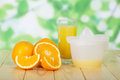 Free Orange Slices, Glass And Juice Extractor Stock Photo - 35145320