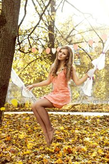 Free Beautiful Woman Swinging With Autumn Leaves Royalty Free Stock Photo - 35141285