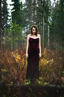 Free Full Length Portrait Of Woman In Purple Dress Under Rain Royalty Free Stock Image - 35142996