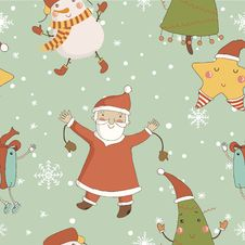 Cartoon Pattern With Christmas Characters. Royalty Free Stock Photo