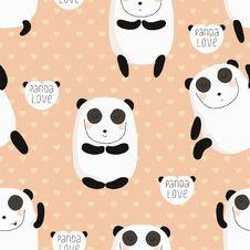 Free Cartoon Pattern With Cute Panda Guru. Stock Image - 35145061