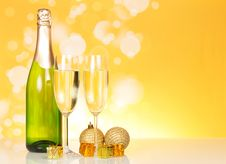 Bottle Of Champagne And Two Glasses Stock Photo