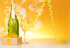 Free Champagne, Glass, Gift And Serpentine Royalty Free Stock Photos - 35145548