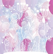 Free White Flowers And Snowflakes On Purple Circles Bac Stock Photography - 35147212