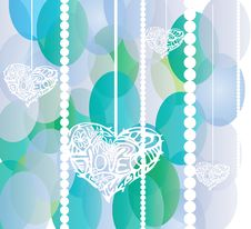 Free White Hearts On Blue And Green Circles Background Royalty Free Stock Photos - 35147418