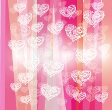 White Hearts On Pink Stripes Background Royalty Free Stock Image