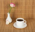 Free Vase With Rose And Cup Of Coffee Stock Images - 35155824