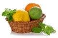 Free Lemon, Lime, Orange In A Wicker Basket Stock Image - 35155851