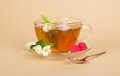 Free Cup Of Flower Tea Spoon And Raspberry On Beige Royalty Free Stock Photo - 35155925