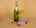 Free Bottle And Two Wine Glasses Of Champagne Stock Photography - 35155962