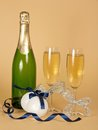 Free Bottle And Wine Glasses With Champagne Stock Images - 35155994