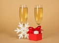 Free Wine Glasses With Champagne, A Red Gift Box Stock Images - 35156024