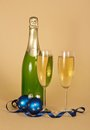 Free Bottle, Wine Glasses With Champagne And Christmas Royalty Free Stock Photos - 35159088