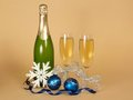 Free Bottle Of Champagne, And Wine Glasses With Silver Stock Photo - 35159330