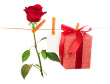 Free The Rose, Card And Gift Hang On Rope Stock Images - 35150144