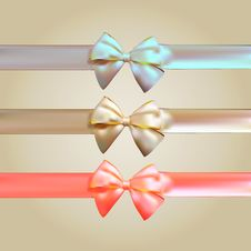 Free Colorful Silk Ribbon With Bow Set Royalty Free Stock Photo - 35150465