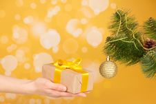 Free Branch Of Christmas Fir-tree With Ornament And Stock Photos - 35150533