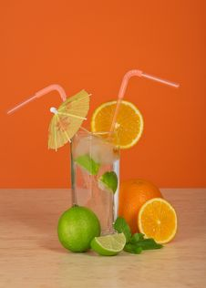 Drink In Glass With Straw, Is Decorated Umbrella Stock Photo