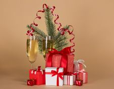 Free Fir-tree Branch, Wine Glasses With Champagne Royalty Free Stock Image - 35155926