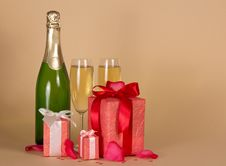Free Bottle And Wine Glasses With Champagne, Three Gift Royalty Free Stock Image - 35155936