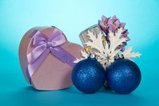 Free Two Gift Boxes, Christmas Toys And Snowflake Stock Images - 35156014