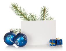 Free The Fir-tree Branch, Two Christmas Toys, Small Royalty Free Stock Photo - 35156065