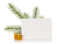 Fir-tree Branch, Small Gift Boxes And The Empty Royalty Free Stock Photos
