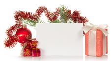 Christmas Gifts, Fir-tree Branch Decorated By Toys Stock Photos