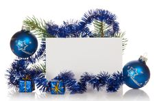Fir-tree Branch With Tinsel, Small Gift Boxes, Two Royalty Free Stock Photos