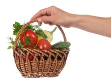 Hand Holds Basket With The Vegetables Royalty Free Stock Photo