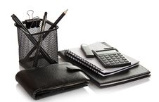Free Set Of Office Accessories, Man S Purse And Flash Stock Images - 35159294