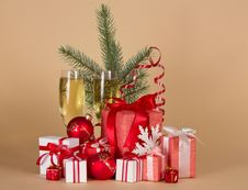 Free Gift Boxes, Toys, Christmas Tree, Serpentine, Royalty Free Stock Photography - 35159307