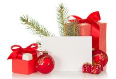 Free Christmas Toys, Gifts, Fir-tree Branch And Empty Royalty Free Stock Photo - 35159465
