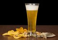 Free Glass Of Foamy Beer With Bubbles, Chips, Salty Royalty Free Stock Image - 35162076