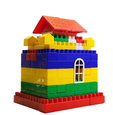 Free Toy House Out Of Colored Blocks Stock Photography - 35160382