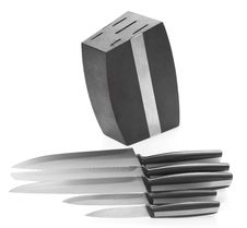 Five Steel Kitchen Knives And Knife Block Royalty Free Stock Images