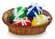 Wattled Basket With The Easter Eggs Stock Photography