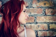 Free Portrait Of Red Woman Against Brick Wall Outdoors Stock Photos - 35162073