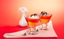 Two Desserts, Decorated With Chocolate Stock Photo